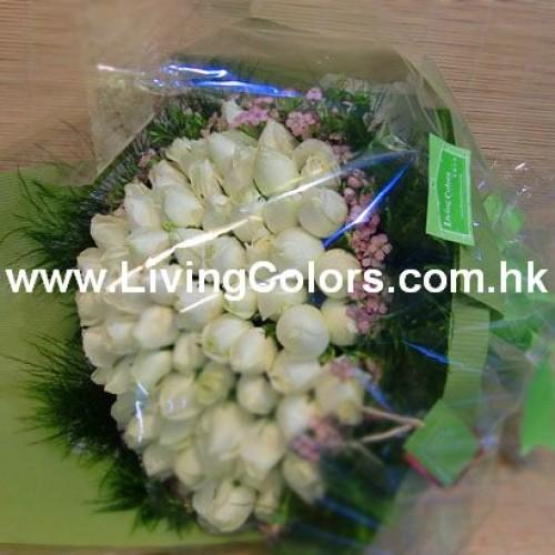 99pcs of White Rose Bouquet