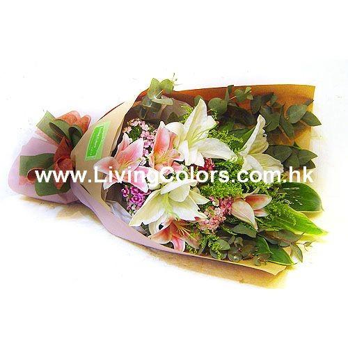 Mixed colors Lilies bouquet